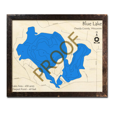 Blue Lake WI 3d Wood Map