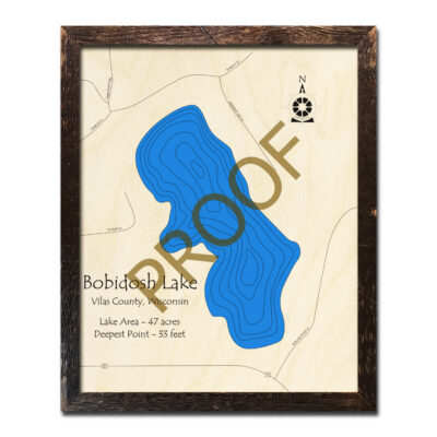 Bobidosh Lake 3d Wood Map