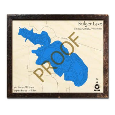 Bolger Lake 3d Wood Map