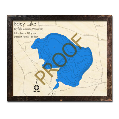 Bony Lake 3d Wood Map