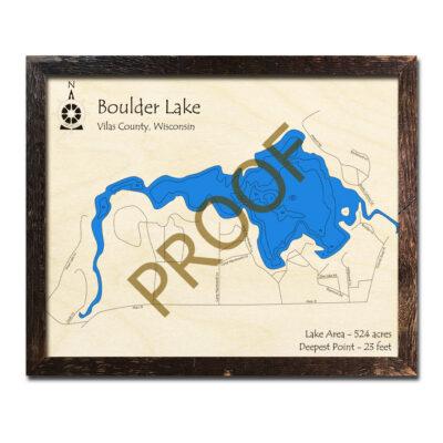 Boulder Lake 3D Wood Map WI