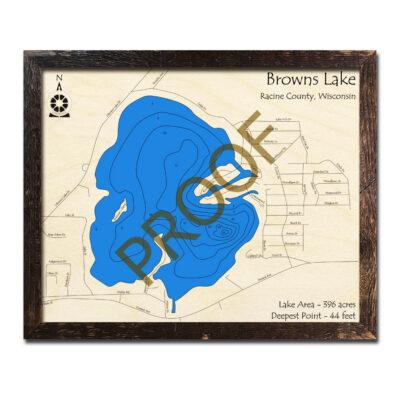 Browns Lake WI 3d WOod map