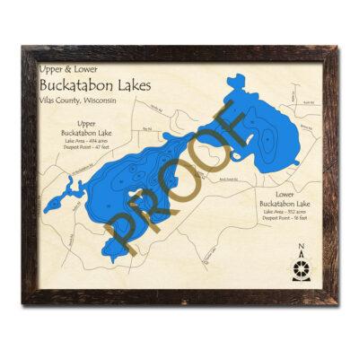 Buckatabon Lake 3d Wood Map
