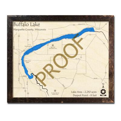 Buffalo Lake WI 3d wood map