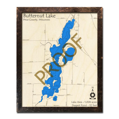 Butternut Lake WI 3d Wood Map