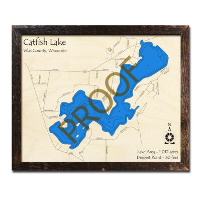 Catfish Lake 3d Wood Map