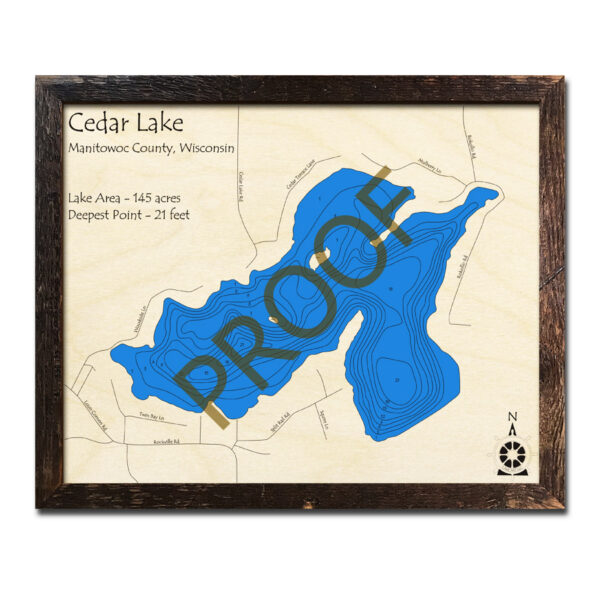 Cedar Lake WI 3d Wood Map