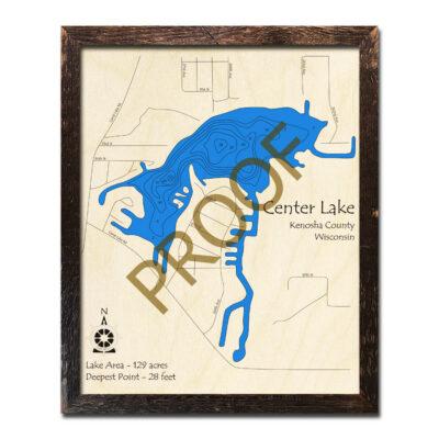 Center Lake WI 3d Wood MAP