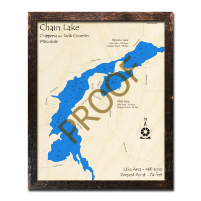 Chain Lake WI 3d Wood Map