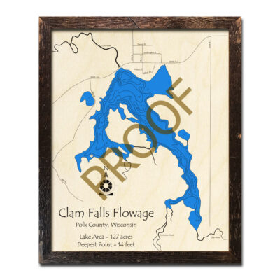 Clam Falls Flowage 3d wood map