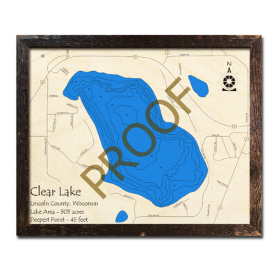 3d Wood Map of Clear Lake WI