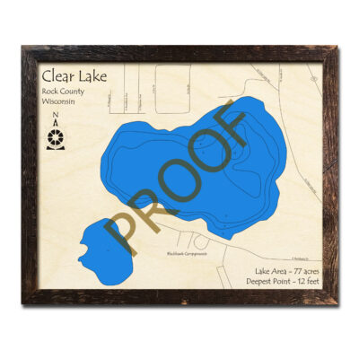 Nautical Wood Map of Clear Lake Wisconsin