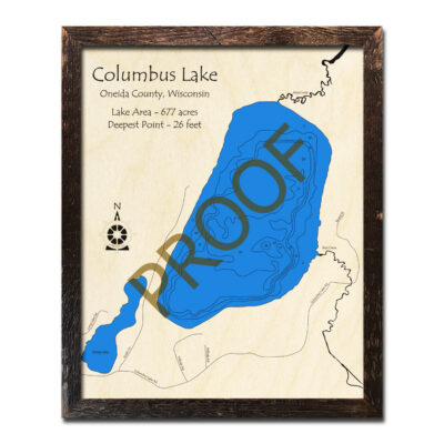 Wood map of Columbus Lake