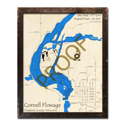 Cornell Flowage 3d wood map