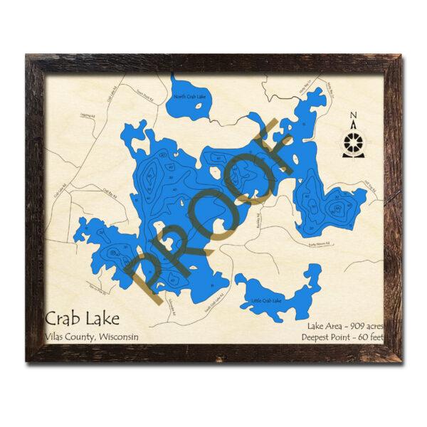 Crab Lake WI 3d wood map