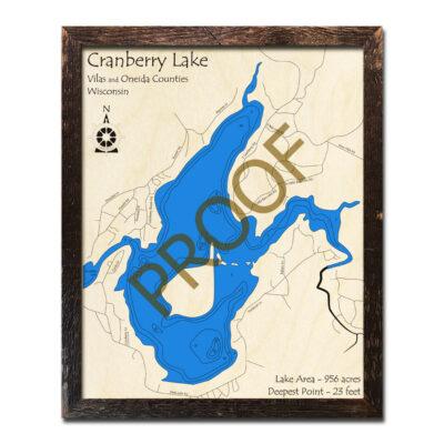 Cranberry Lake WI 3d wood map