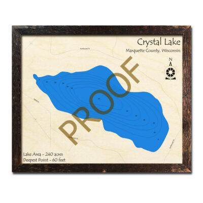 Crystal Lake 3D Wood Map