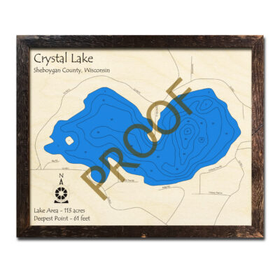 Crystal Lake wi 3d wood map