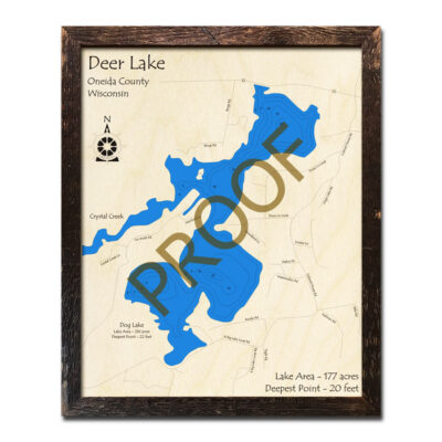 Deer Lake WI 3d wood map