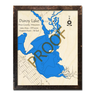Duroy Lake 3d wood map
