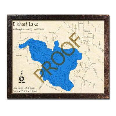 Elkhart Lake 3d wood map