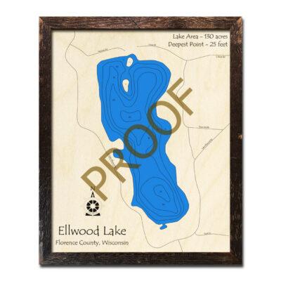 Ellwood Lake 3d wood map