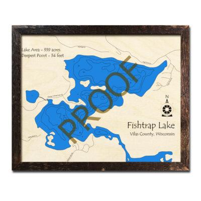 Fishtrap Lake WI 3d Wood Map