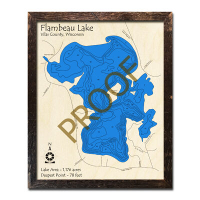 Flambeau Lake 3d wood map