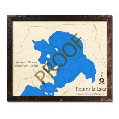 Fourmile Lake 3d Wood Map