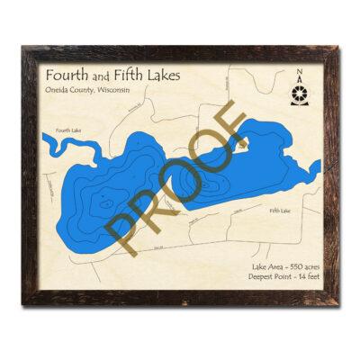 Fourth Lake WI 3d wood map