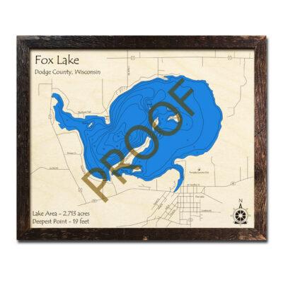 Fox Lake WI 3d wood map