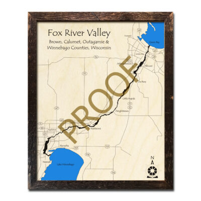 Fox River Valley 3d wood map