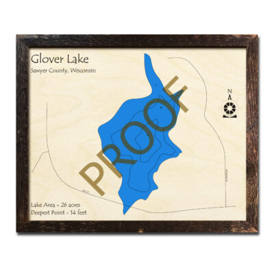 Glover Lake 3d wood map