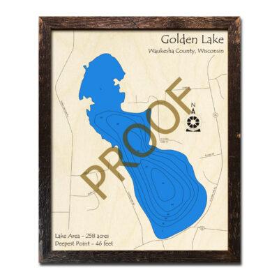 Golden Lake WI 3d wood map
