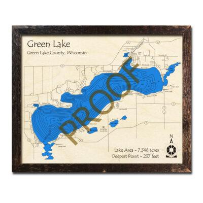 Green Lake WI 3d wood map