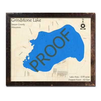 Grindstone Lake 3d wood map