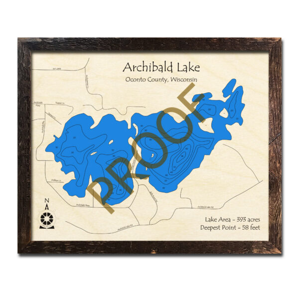 Archibald Lake 3d wood map