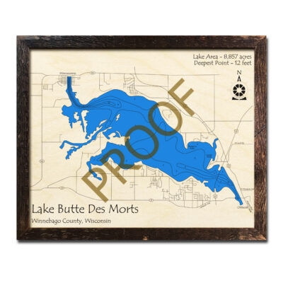 Butte des Morts Lake 3D Wood Map