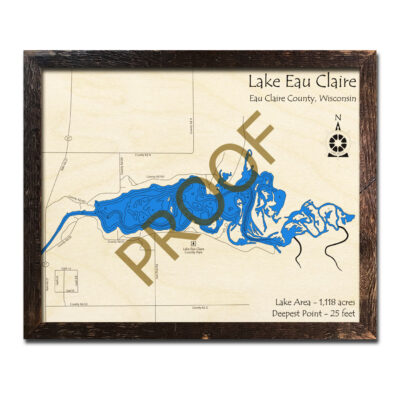 Eau Claire Lake 3d wood map