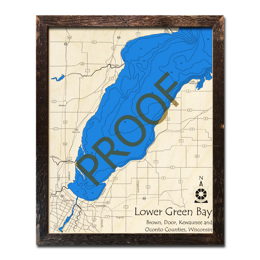 Lower Green Bay Wi Wood Map Nautical Charts