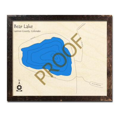 Bear Lake Colorado 3d wood map