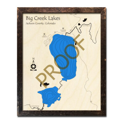 Big Creek Lakes 3d wood map