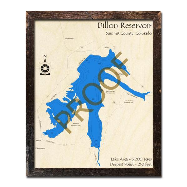 Dillon Reservoir 3d Wood Map in Colorado