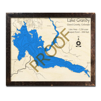 Granby Lake 3d wood map colorado