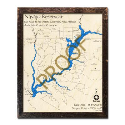 Navajo Reservoir 3d wood map