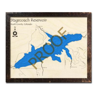 Stagecoach Reservoir CO 3d wooden map
