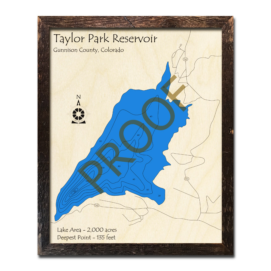 Taylor Park Colorado Map.Taylor Park Reservoir Co 3d Wood Map Laser Etched Wood Charts