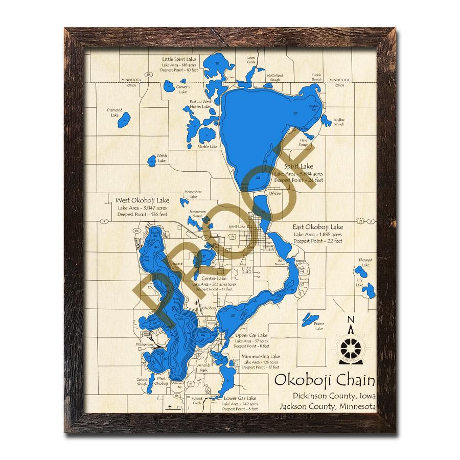 Lake Okoboji Chain Of Lakes Iowa 3d Wood Map Laser Etched Wood Charts