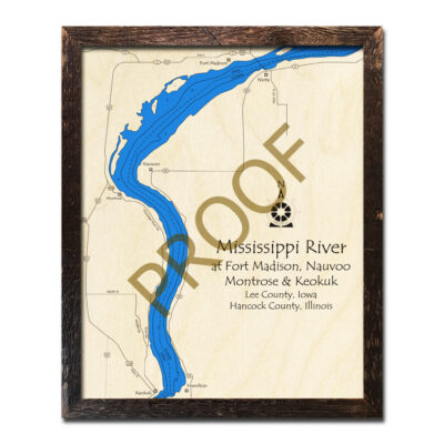 Mississippi River 3d wood map