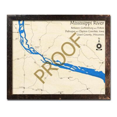Mississippi River 3d wood map